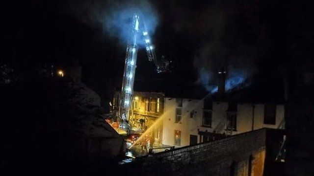 Firefighters at the Monk Street fire