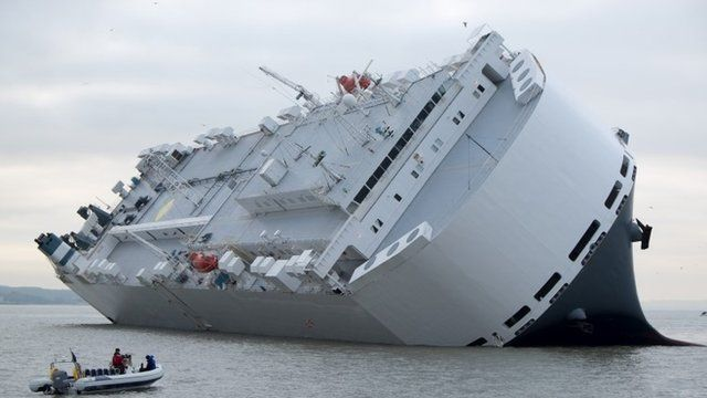 The Hoegh Osaka grounded in the Solent