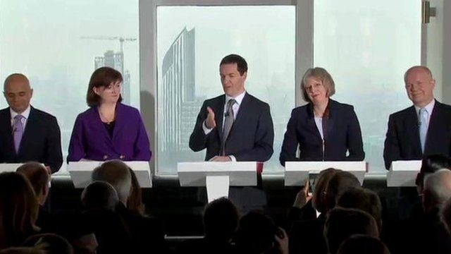(L-r) Sajid Javid; Nicky Morgan; George Osborne; Theresa May; William Hague