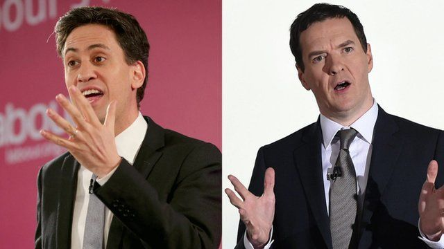 Labour's leader Ed Miliband and Conservative chancellor George Osborne