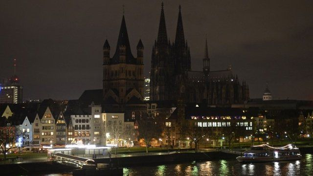 """The illumination of the world famous Cologne cathedral is turned off during a rally called """"Patriotic Europeans against the Islamisation of the West"""""""