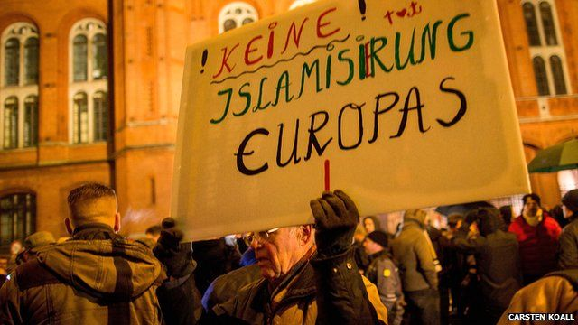 """Man holding home-made banner in German with slogan """"No Islamisation of Europe"""" at an anti-Islam rally in Berlin"""
