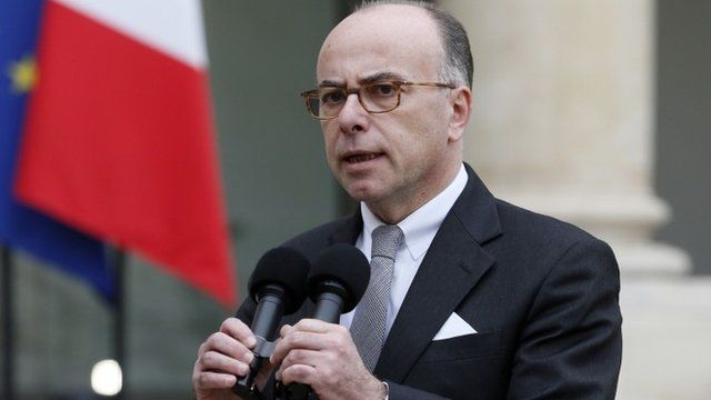 French Interior minister Bernard Cazeneuve makes a statement, on January 7, 2015 at the Elysee palace in Paris