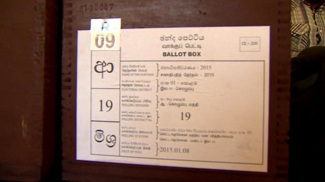 A ballot box from a polling station in Colombo.