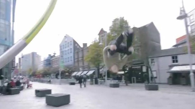 A Cardiff freerunner in action