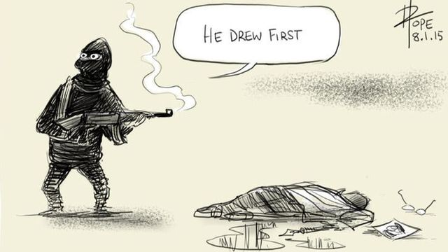 """Cartoon showing gunman saying """"He drew first"""" next to the body of a cartoonist"""