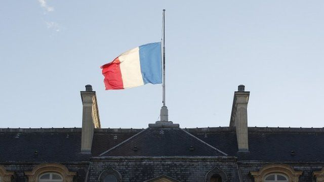 Flag at half mast on the Elysee Palace