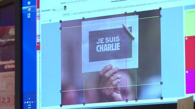 A computer screen editing a Je suis Charlie image