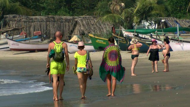 Tourists on the beach in Goa