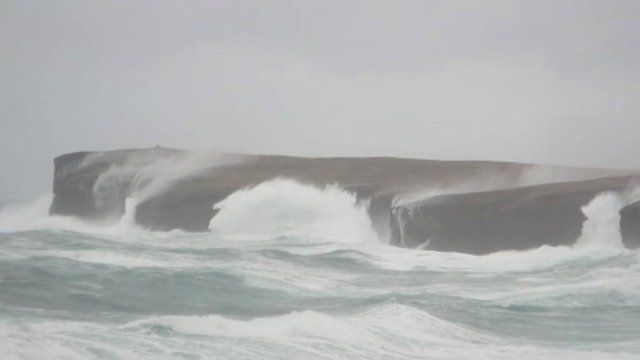Waves hit Orkney