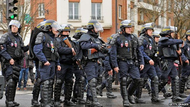 Armed police in Paris, 9 January
