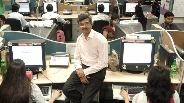 Pramod Bhasin at his call centre in Delhi, India