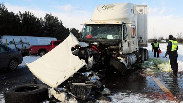 A massive pile up in York Township, Michigan