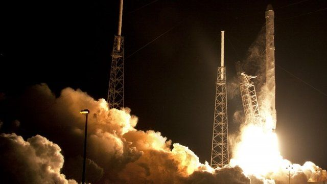 The Falcon 9 SpaceX rocket lifts off from Space Launch Complex 40 at the Cape Canaveral