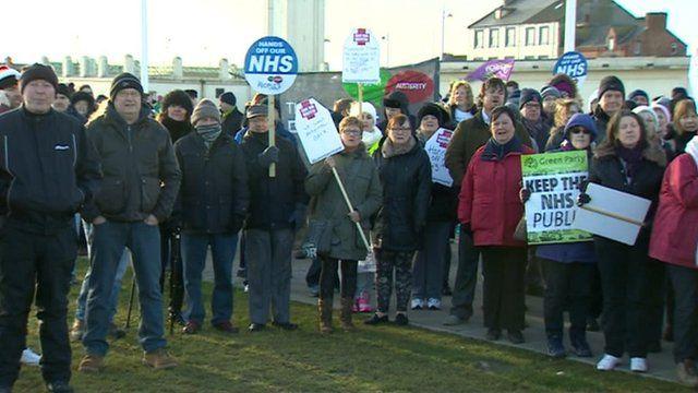 Protestors in Hartlepool