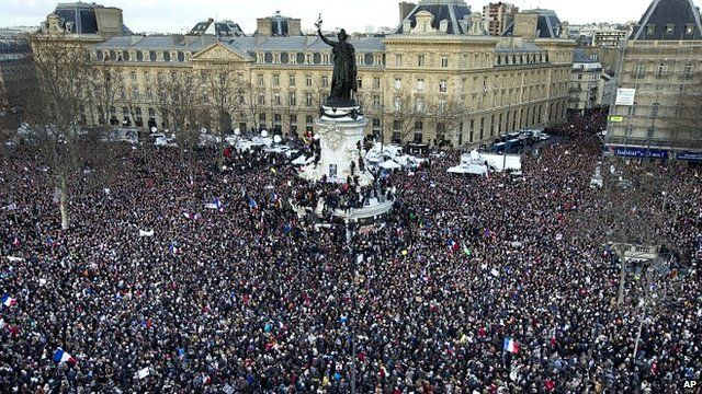 Thousands of people gather at Place de la Republique in Paris