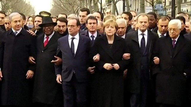 French President Francois Hollande led the march with other world leaders