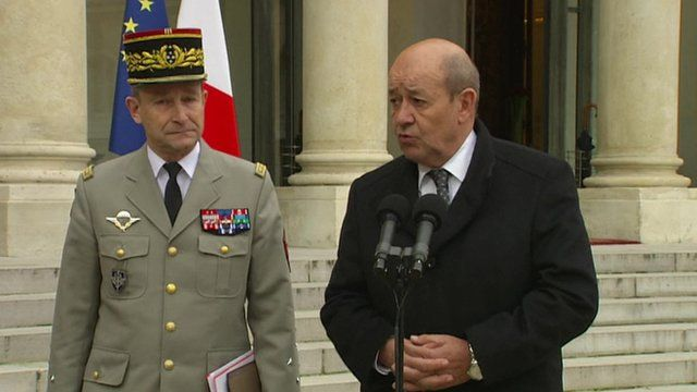 Defence Minister Jean-Yves Le Drian (right)