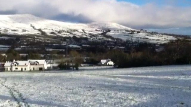 BBC News NI's Mervyn Jess has been out filming the snow fall in Moneyneany, County Londonderry