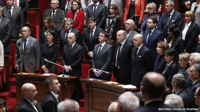 Members of France's National Assembly hold a minute's silence in honour of dead from Paris attacks