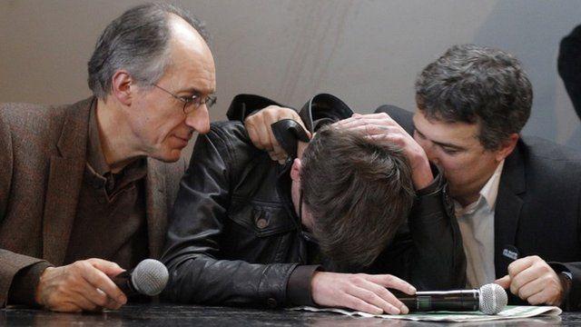 (Left-right) Editor-in-chief of Charlie Hebdo Gerard Biard, cartoonist Renald 'Luz' Luzier and columnist Patrick Pelloux