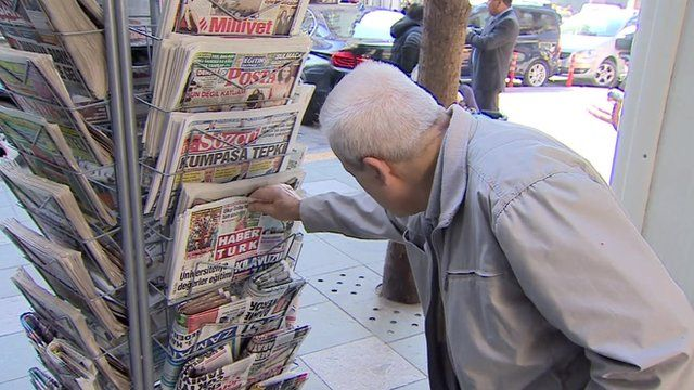 A newspaper stand in Istanbul