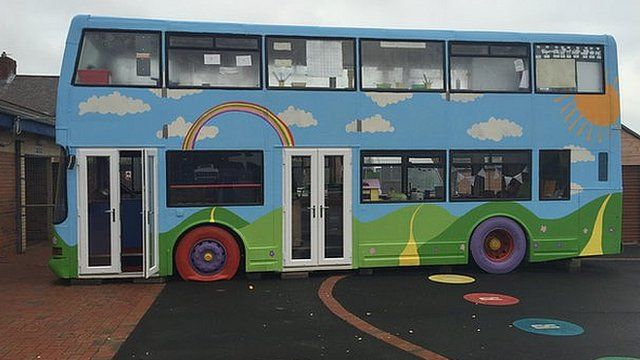 The bus is used for several classes a day