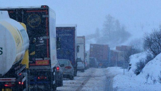 Vehicles stuck in snow