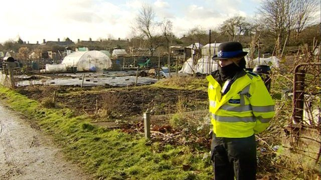 Police officer at the allotment