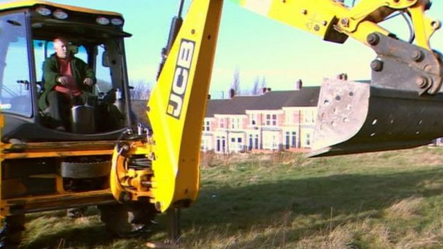 Digger on the site of new homes in Gateshead