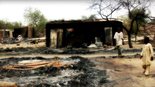 Burnt-out building in Baga, Nigeria