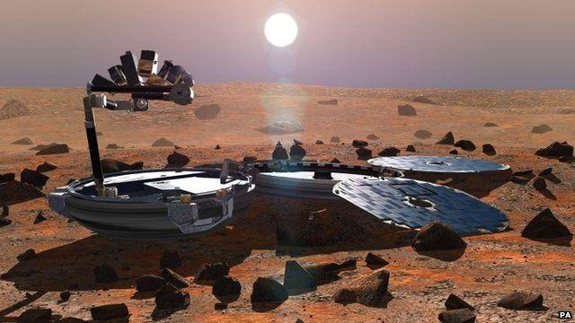 A visualisation of Beagle 2 landing on Mars