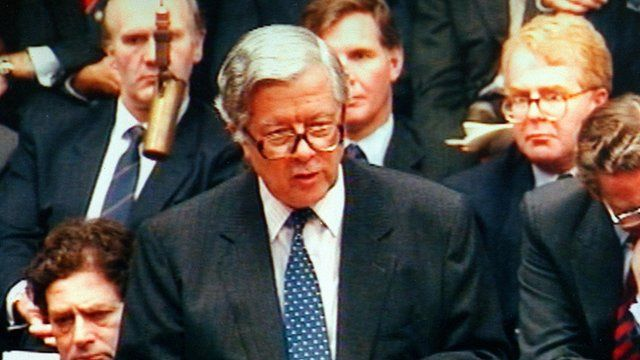 Sir Geoffrey Howe makes his resignation statement in the Commons