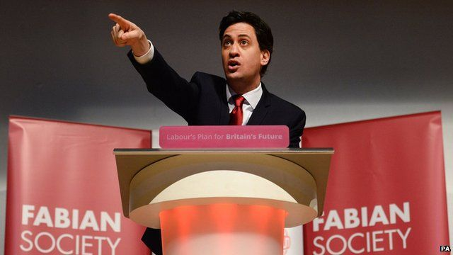 Labour leader Ed Miliband delivers the keynote speech to the Fabian Society at its one-day conference held at the Institute of Education, London