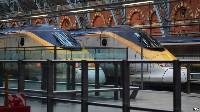 Two Eurostar trains parked at St Pancras International in London
