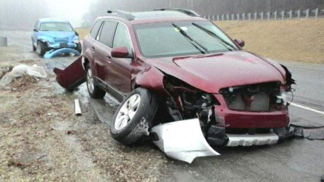 Damaged car in Philadelphia
