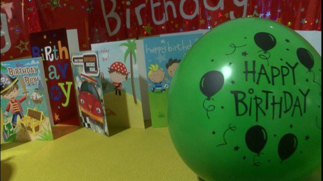 Birthday cards and balloons