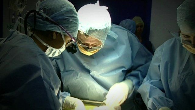 Surgeons carrying out surgical procedure