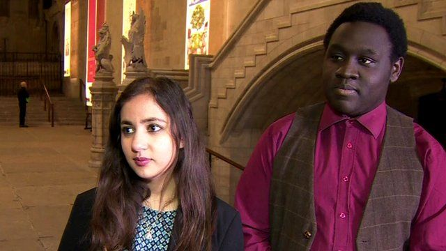Ife Grillo, from Hackney Youth Parliament, and Yasmin Rufo, of the British Youth Council