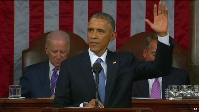 President Obama acknowledging the audience after giving his 2015 State of the Union address