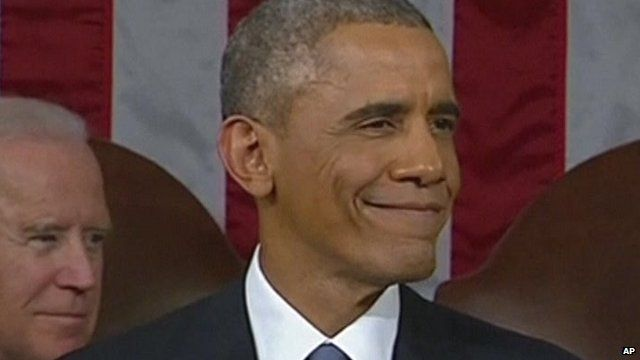 President Obama smiling during his 2015 State of the Union address