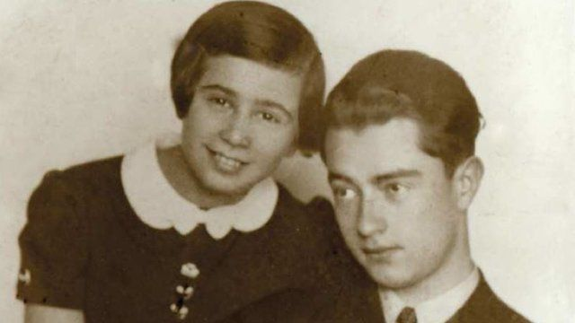 Kitty Moxon-Hart with her brother