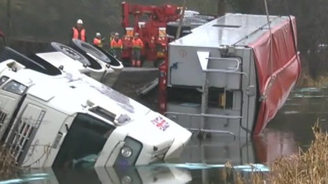 Lorry is pulled from canal