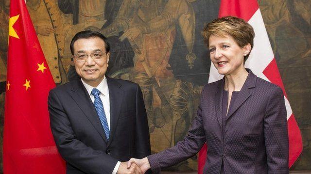 Chinese Premier Li Keqiang and Swiss Federation President Simonetta Sommaruga