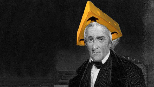 Andrew Jackson wearing a cheese hat