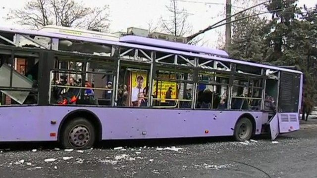 Damaged trolleybus