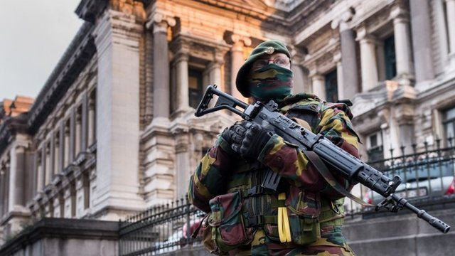 Belgian soldier stands guard in Brussels