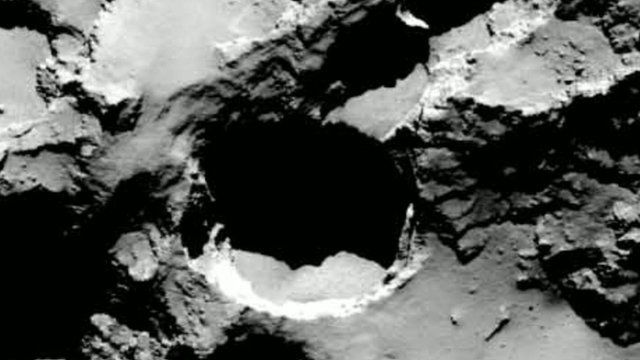 Pitted surface of the comet