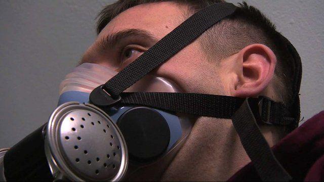 Ben Parkinson undergoing oxygen treatment