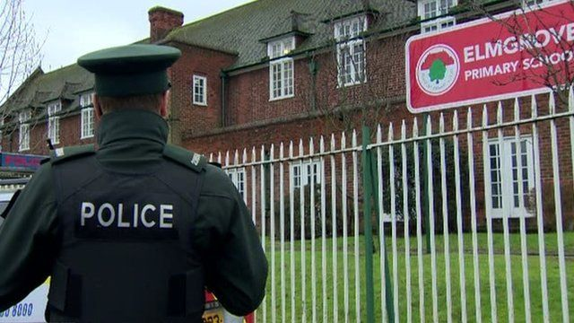 Police officers were outside the school on Friday morning, as Mark Simpson reports